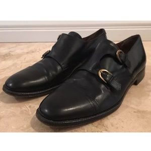 SALVATORE FERRAGAMO Leather Monk Strap Shoes Italy